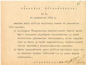 Päevakäsk sõjavägedele nr 8, 24. jaanuar 1919